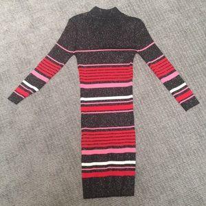 Mock neck sweater sparkly dress